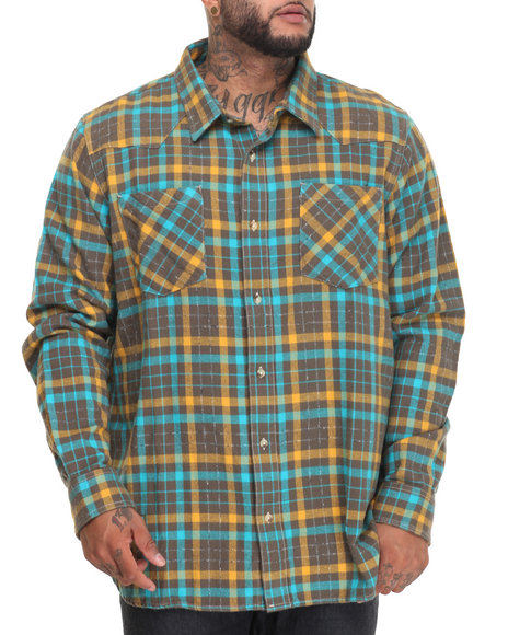 Lrg Men Wanderer L/S Button-Down (B&T) Green 4X-Large