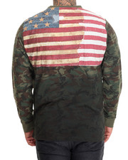 Shirts - Flag Applique Camouflage L/S T-Shirt (B&T)