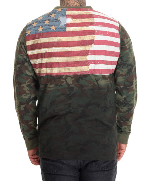 Winchester - Men Navy Flag Applique Camouflage L/S T-Shirt (B&T)