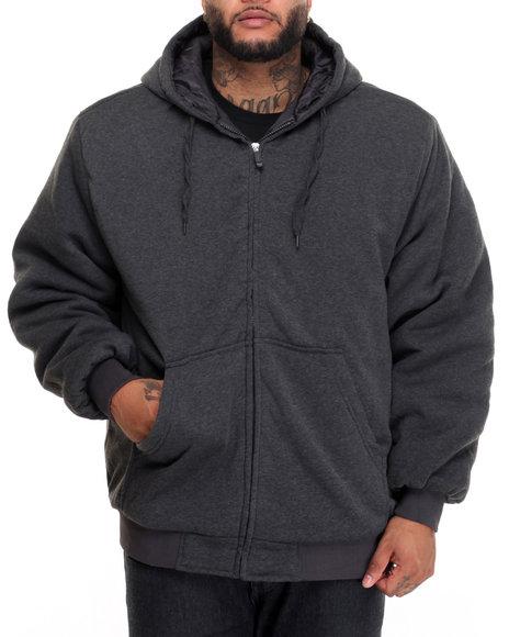 Basic Essentials - Men Charcoal Quilt - Lined Fleece Hoodie (B&T)
