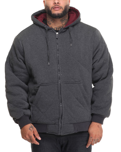 Basic Essentials - Men Charcoal Heavyweight Quilted Thermal - Lined Fleece Hoodie (B&T)