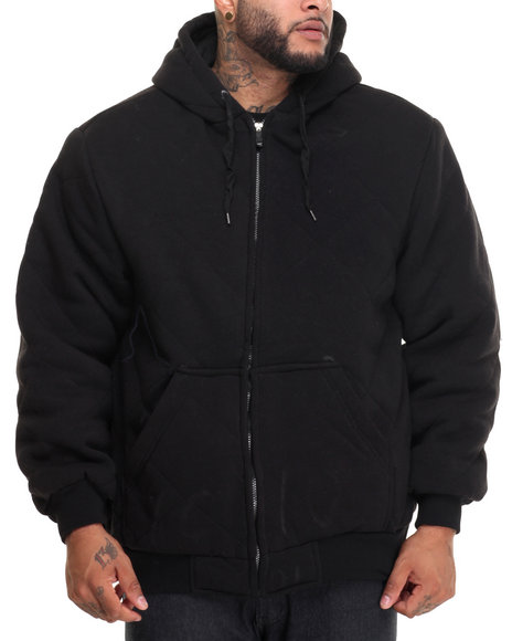 Basic Essentials - Men Black Heavyweight Quilted Thermal - Lined Fleece Hoodie (B&T)
