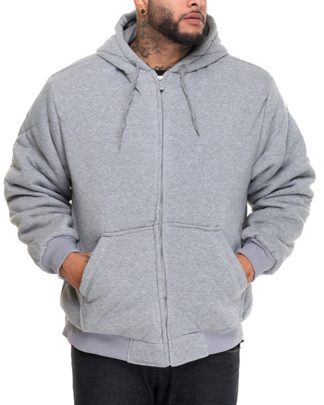 Basic Essentials - Men Grey Heavyweight Quilted Thermal - Lined Fleece Hoodie (B&T)