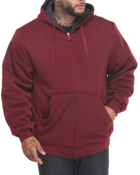 Basic Essentials - Men Maroon,Maroon Quilt - Lined Fleece Zip - Up Hoodie