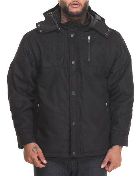 Buyers Picks - Men Black Biker Shop Wool Moto - Style Jacket (B&T)
