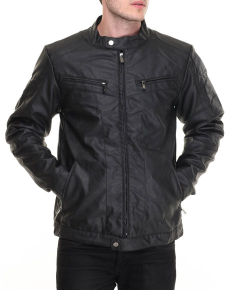 Steve Madden - Men Black Faux Leather Motorcycle Jacket