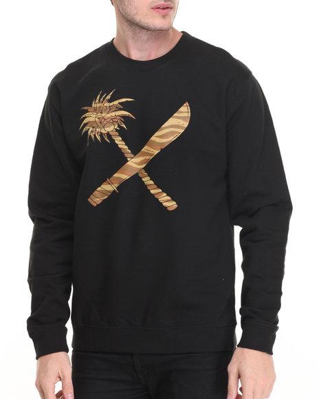 Us Versus Them - Men Black Crosscut Crewneck Sweatshirt