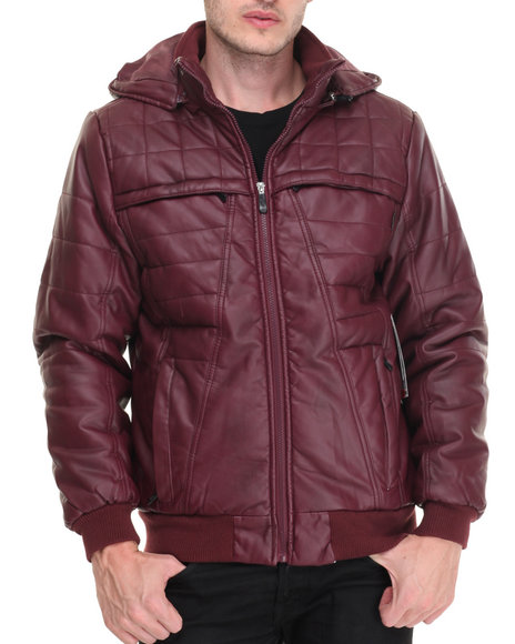 Buyers Picks - Men Maroon Barrier Structured Lined Faux Leather Jacket
