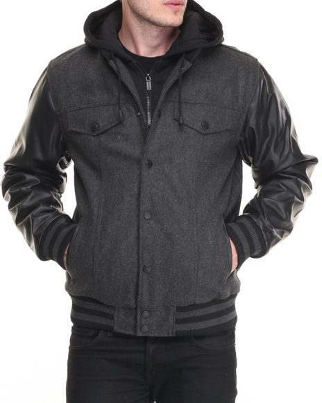 Steve Madden - Men Charcoal Wool Varsity Hooded Jacket W/ Faux Leather Sleeve Detail