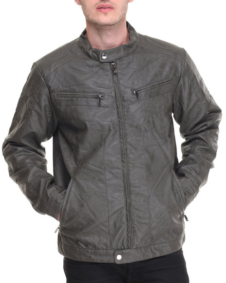 Steve Madden - Men Grey Faux Leather Moto Jacket