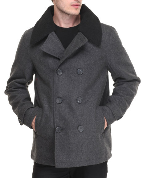 Steve Madden - Men Charcoal Wool Peacoat W/ Sherpa Collar (Removable)