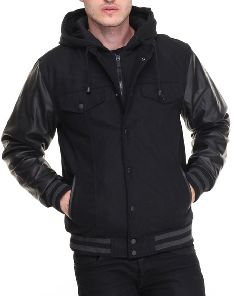 Steve Madden - Men Black Wool Varsity Hooded Jacket W/ Faux Leather Sleeve Detail