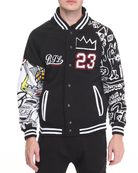 Basic Essentials - Men Black Graffiti - Themed Varsity Jacket