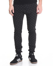 Men - Dot - Print Color - Block Fleece Joggers