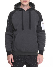 Men - Dot - Print Color - Block Zip - Up Hoodie