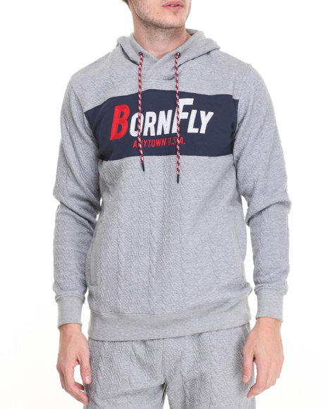 Born Fly - Men Grey Terry Pullover Hoodie