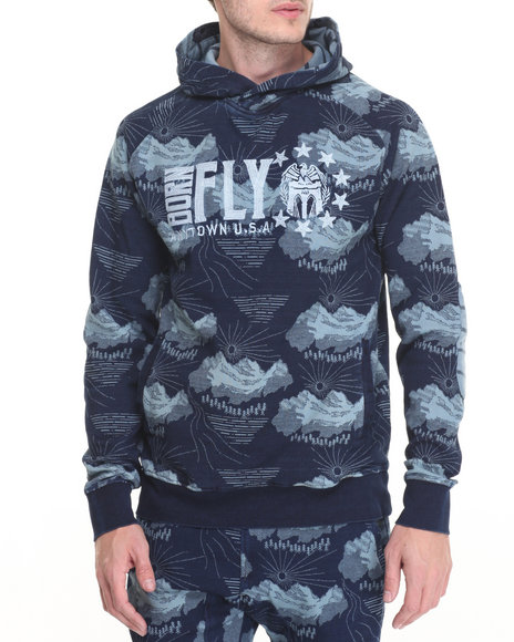 Born Fly - Men Navy,Indigo Traynor Pullover Hoodie