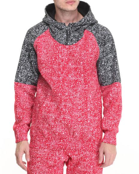 Basic Essentials - Men Red Splatter - Print Zip - Up Hoodie