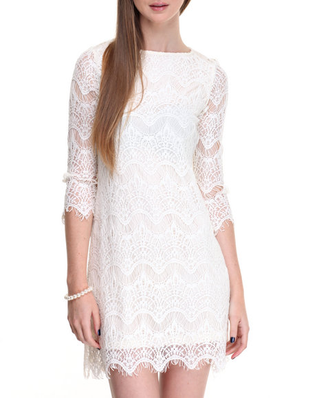 Shinestar - Women Ivory Allover Lace 3/4 Sleeve Dress