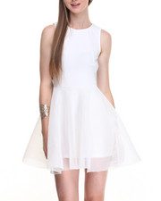 Dresses - Allover Mesh Sheer Sides Swing Dress