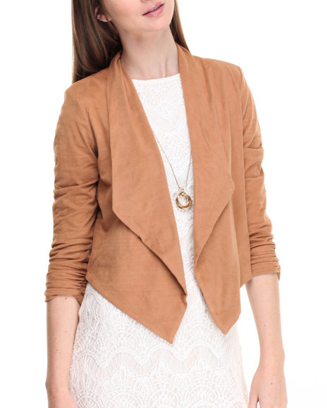 Shinestar - Women Tan Faux Suede Ruched Sleeve Flyaway Jacket