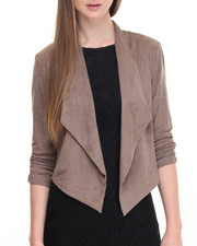 Light Jackets - Faux Suede Rouched Sleeve Flyaway Jacket