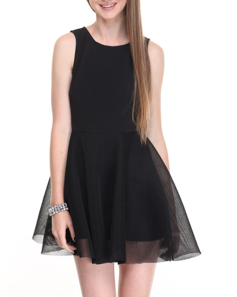 Shinestar - Women Black,Black Allover Mesh Sheer Sides Swing Dress