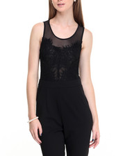 Women - Lace Mesh Overlay Pocketed Crepe Jumpsuit