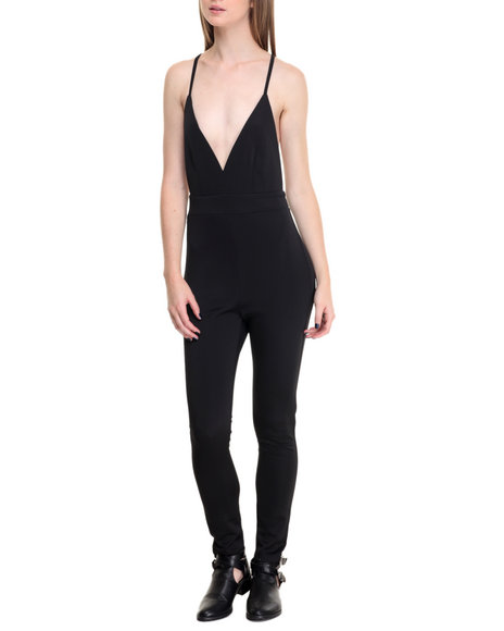 Shinestar - Women Black Deep Plunge X-Back Scuba Jumpsuit