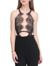 Women - Open Keyhole Back Lace Overlay Jumpsuit