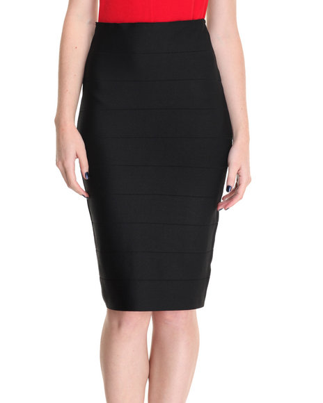 Shinestar - Women Black Bodycon Tube Skirt