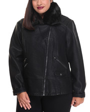 Heavy Coats - Vegan Leather & Faux Fur Detail Moto Jacket