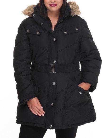 Rocawear Women Large Pockets Hooded Puffer Jacket (Plus) Black 1X