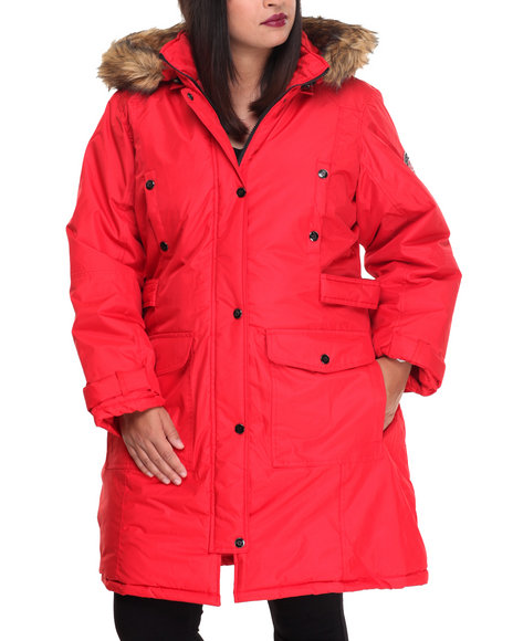 Rocawear Women Goose Puffer Knee Length Hooded Coat (Plus) Red 1X