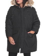 Steve Madden - Heavy Weight Snorkel Coat w/ Ruched Sleeve Detail Faux Fur Trim Hood (plus)