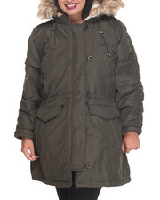 Women - Heavy Weight Snorkel Coat w/ Ruched Sleeve Detail Faux Fur Trim Hood (plus)