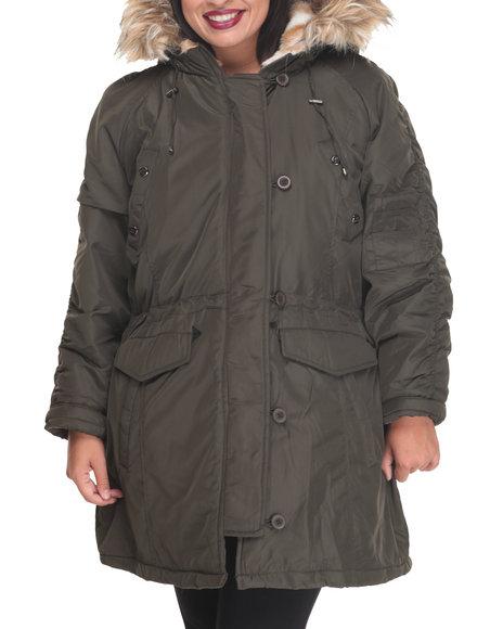 Steve Madden - Women Olive Heavy Weight Snorkel Coat W/ Ruched Sleeve Detail Faux Fur Trim Hood (Plus)