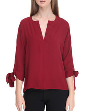 Women - Split Neck Woven Top