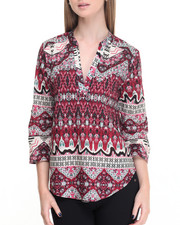 Women - Tribal Print Split Neck Woven Top