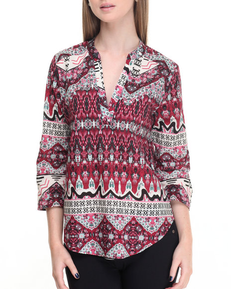 Shinestar - Women Dark Red Tribal Print Split Neck Woven Top
