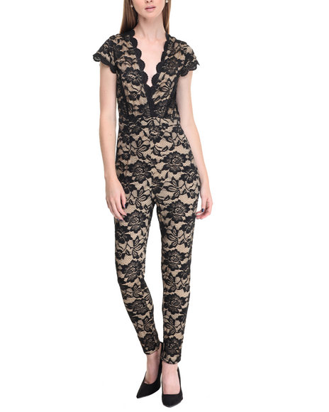 Shinestar - Women Black Lace Overlay Jumpsuit