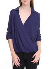 Women - Hi-Low Hem Woven Long Sleeve Top
