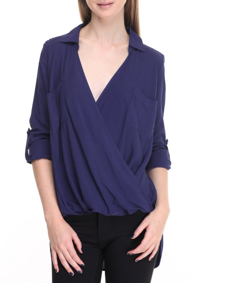 Shinestar - Women Navy Hi-Low Hem Woven Long Sleeve Top
