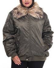 Steve Madden - Poly Light Weight Bomber Jacket w/faux fur collar (plus)