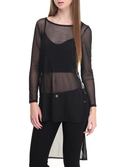 Shinestar - Women Black Hi-Low Hem Long Sleeve Top