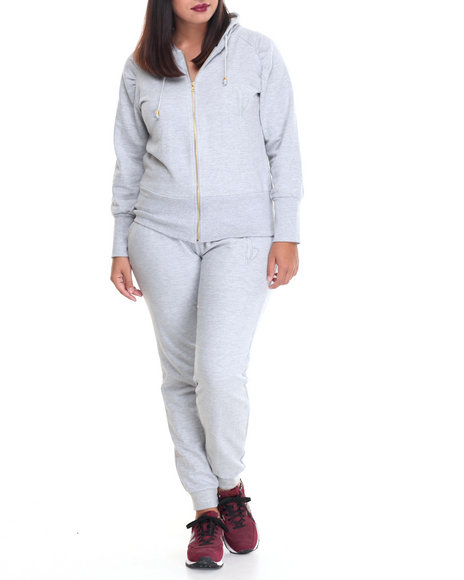 Baby Phat - Women Grey French Terry Fitted Logo Active Set (Plus)