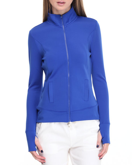 Shinestar Women Zip Front Scuba Active Jacket Blue Medium