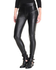 Bottoms - Vegan Leather Fleece Lined Zip Trim Skinny Pant
