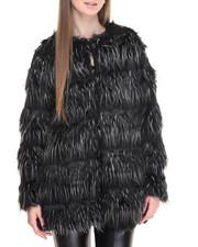 Outerwear - Platnium Faux Fur Swing Coat