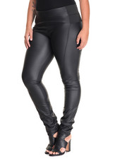 Bottoms - Vegan Leather Fleece Back Coated Stretch Pant (Plus)